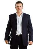 Gelukkige geïsoleerdem zakenman met notitieboekje Royalty-vrije Stock Foto