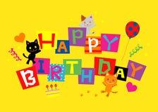 Gelukkige Geboortedag, katten royalty-vrije illustratie