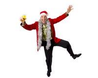 Gelukkige gedronken hark hogere zakenman in Champagne Christmas-toostpartij aan het werk die Kerstmanhoed dragen royalty-vrije stock foto's