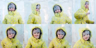 Gelukkige gele Giel ijn stelt achter dik stuk van ijs stock foto
