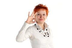 Gelukkige gelukkige jonge vrouw stock foto