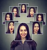 Gelukkige gemaskeerde vrouw die verschillende emoties uitdrukken royalty-vrije stock foto