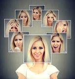 Gelukkige gemaskeerde vrouw die verschillende emoties uitdrukken royalty-vrije stock afbeelding