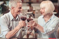 Gelukkige gepensioneerden die een belangrijke datum in een restaurant vieren stock foto's