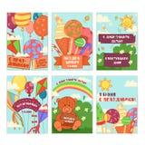 Gelukkige geplaatste kaarten als achtergrond en de gift van de kinderen` s dag Vectorillustratie van de Universele inzameling van Royalty-vrije Stock Afbeeldingen