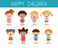 Gelukkige geplaatste kinderen, gelukkig, het kind van het jong geitjesymbool, Vectorillustratie Royalty-vrije Stock Afbeelding
