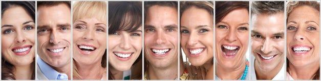 Gelukkige geplaatste mensengezichten stock fotografie