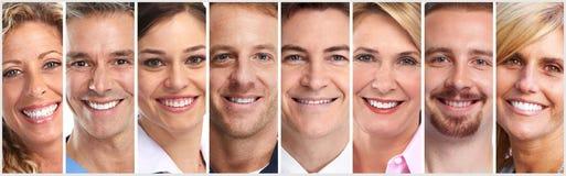 Gelukkige geplaatste mensengezichten royalty-vrije stock afbeelding