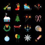 Gelukkige geplaatste Nieuwjaar vlakke pictogrammen Stock Afbeeldingen