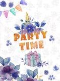 Gelukkige geplaatste Verjaardagskaarten Vierings kleurrijke illustraties met verjaardagscake, ballons en sterren Waterverfhand ge royalty-vrije stock foto's
