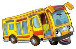 Gelukkige geïsoleerde beeldverhaalbus Stock Fotografie