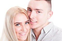 Gelukkige gezichten van een glimlachend paar Royalty-vrije Stock Foto