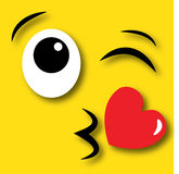 Gelukkige gezichts flirty kussen vector illustratie