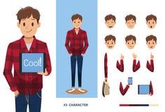 Gelukkige glimlach jonge mens voor het creëren van een karaktervector Stock Foto's