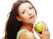 Gelukkige glimlachende die vrouw met appel, op wit wordt geïsoleerd Stock Foto's