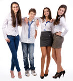 Gelukkige glimlachende groep vrienden status Stock Foto's