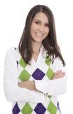 Gelukkige glimlachende jonge die vrouw over witte achtergrond wordt geïsoleerd Royalty-vrije Stock Foto