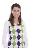 Gelukkige glimlachende jonge die vrouw over witte achtergrond wordt geïsoleerd Royalty-vrije Stock Fotografie