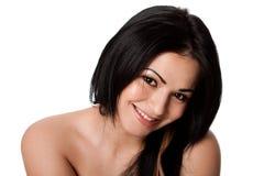 Gelukkige glimlachende jonge vrouw Stock Afbeelding