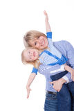 Gelukkige glimlachende mamma en kindvlieg Royalty-vrije Stock Afbeeldingen