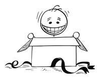 Gelukkige Glimlachende Mens die binnen Giftdoos kijken te openen Stock Afbeelding