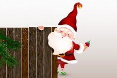 Gelukkige glimlachende Santa Claus die zich achter een leeg teken bevinden, die een groot houten teken tonen Kerstman Klaus, heme stock illustratie