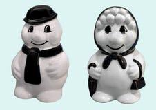 Gelukkige glimlachende sneeuwman en sneeuwvrouw Royalty-vrije Stock Foto's