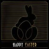 Gelukkige gouden het art decokaart van Pasen van konijntje en eieren stock illustratie