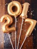 Gelukkige gouden het Nieuwjaarballon van 2017 Royalty-vrije Stock Afbeelding