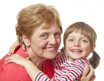 Gelukkige grootmoeder en kleindochter royalty-vrije stock fotografie