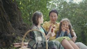 Gelukkige grootmoeder en kleindochters die picknick hebben bij de zomerpark Oma die haar twee kleindochters koesteren dichtbij gr stock videobeelden