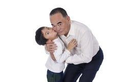 Gelukkige grootvader en kleinzoon Royalty-vrije Stock Afbeelding