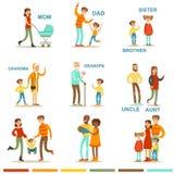 Gelukkige Grote Familie met Alle Verwanten die zich met inbegrip van Moeder, Vader, Tante, Oom en Grootoudersillustraties verzame Royalty-vrije Stock Fotografie