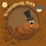 Gelukkige Groundhog-Dag De vlakke stijl van de groetkaart Viering van de Lente Marmot in de cilinder awoke in zijn gat Stock Afbeeldingen