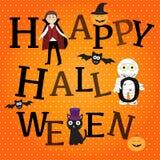 Gelukkige Halloween-achtergrond met leuk weinig vampiervector Stock Afbeelding