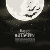 Gelukkige Halloween-achtergrond met maan en silhouettenknuppels Vector illustratie royalty-vrije illustratie