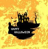 Gelukkige Halloween-Affiche met Borstelskasteel en Eng Kerkhof Stock Fotografie
