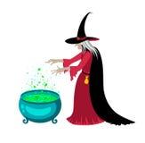 Gelukkige Halloween-affiche met een heks Stock Afbeeldingen