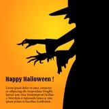 Gelukkige Halloween-affiche met een silhouet van heks Stock Foto's