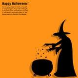 Gelukkige Halloween-affiche met een silhouet van heks Stock Foto