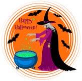Gelukkige Halloween-affiche met een silhouet van heks Stock Afbeeldingen