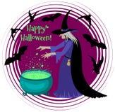 Gelukkige Halloween-affiche met een silhouet van heks Stock Fotografie