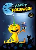 Gelukkige Halloween-babypompoen met blauwe Cake, Stock Foto's