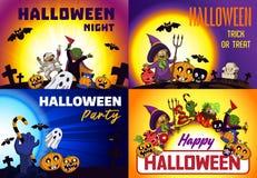 Gelukkige Halloween-bannerreeks, beeldverhaalstijl vector illustratie