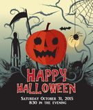 Gelukkige Halloween-de affichevector van de achtergrondpompoenpartij Stock Fotografie