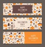 Gelukkige Halloween-geplaatste banners Royalty-vrije Illustratie