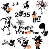 Gelukkige Halloween-geplaatste verschrikkingspictogrammen Stock Foto's