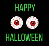 Gelukkige Halloween-Groet met Enge Bloed Gevulde Ogen Royalty-vrije Stock Afbeeldingen