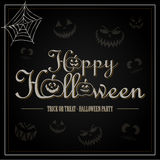 Gelukkige Halloween-groetbrief in zwarte Royalty-vrije Stock Foto's