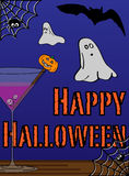 Gelukkige Halloween-groetkaart Stock Afbeelding